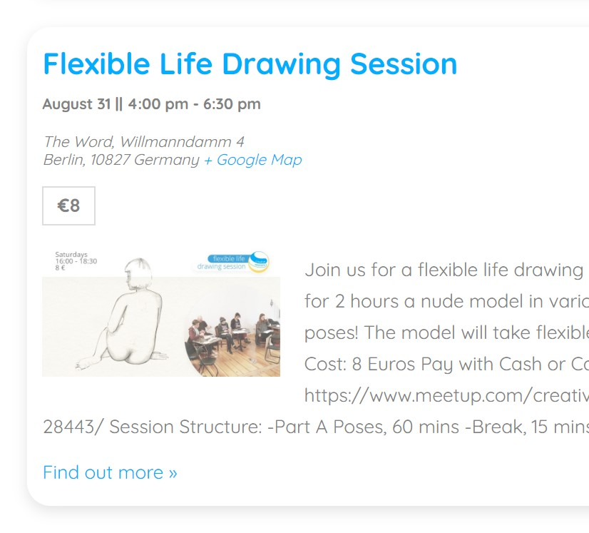 Upcoming Flexible Life Drawing Event
